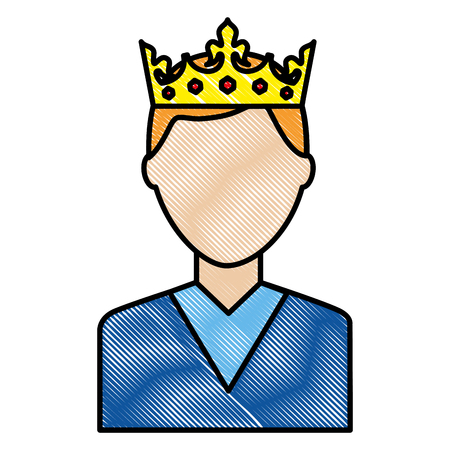 portrait man charatcer wearing crown vector illustration drawing Vectores