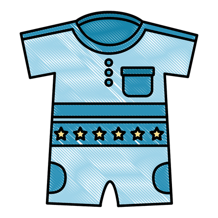 cute clothes for baby newborn boy with stars vector illustration drawing Иллюстрация