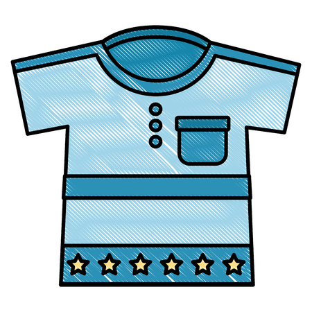 cute clothes for baby newborn boy with stars vector illustration drawing Illustration