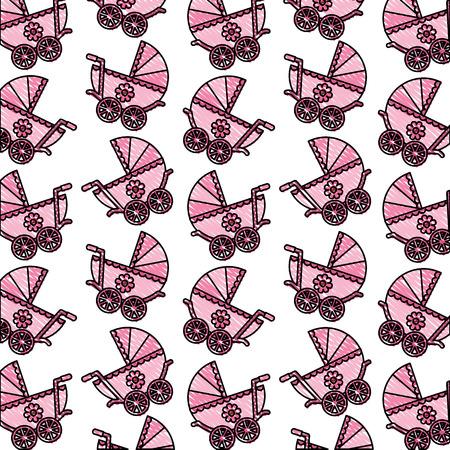 Baby shower cochecito recién nacido delicado fondo ilustración vectorial dibujo