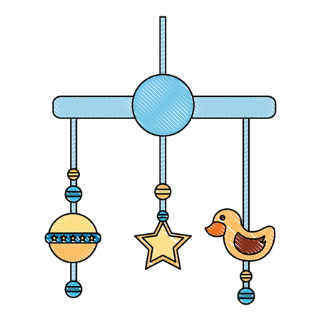 baby shower boy crib mobile toy vector illustration drawing