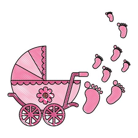 Cute Kinderwagen Baby Neugeborene Spuren Vektor-Illustration Zeichnung Standard-Bild - 99749360