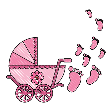 cute pram baby girl newborn footprints vector illustration drawing Banco de Imagens