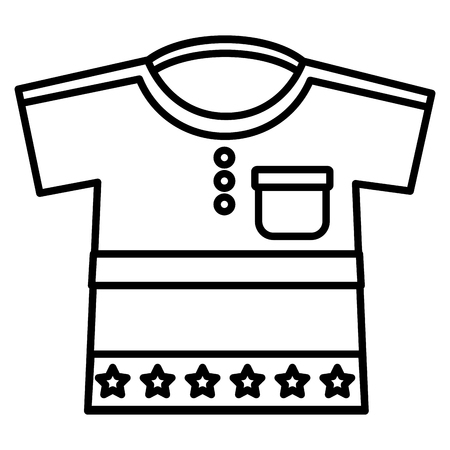 cute clothes for baby newborn boy with stars vector illustration outline