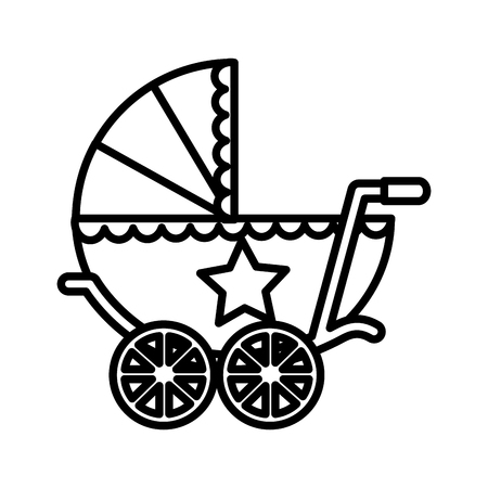 cute baby shower baby boy pram vector illustration outline