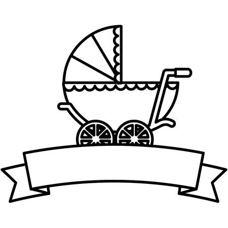 Profilo sveglio dell'illustrazione di vettore della carrozzina del neonato della doccia di bambino Archivio Fotografico - 99731606