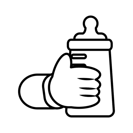 hand baby holding bottle milk vector illustration outline
