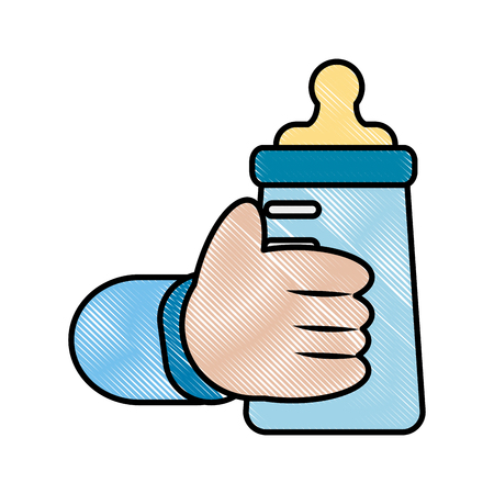 hand baby holding bottle milk vector illustration drawing