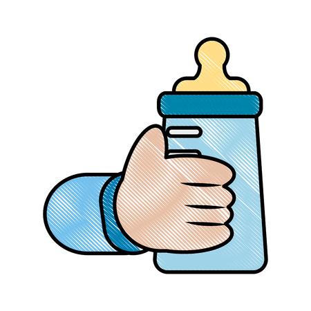 hand baby holding bottle milk vector illustration drawing