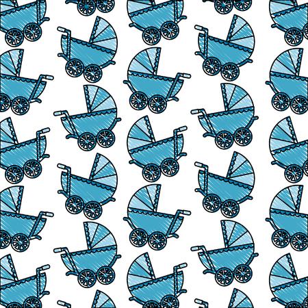 baby shower pram newborn delicate background vector illustration