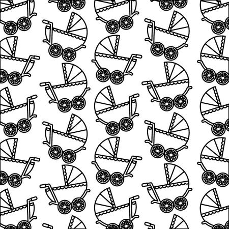 Baby shower cochecito recién nacido delicado fondo ilustración vectorial esquema