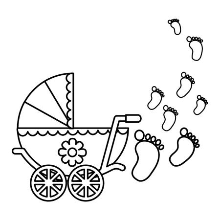 cute pram baby girl newborn footprints vector illustration outline