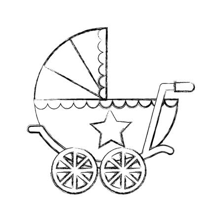 cute baby shower baby boy pram vector illustration sketch