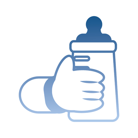 hand baby holding bottle milk vector illustration degraded color