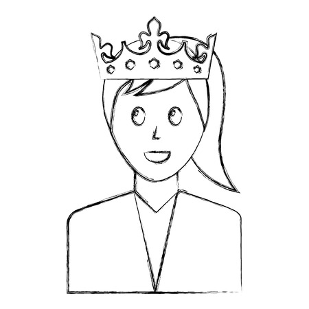 woman character portrait with crown vector illustration sketch Banque d'images - 99732241
