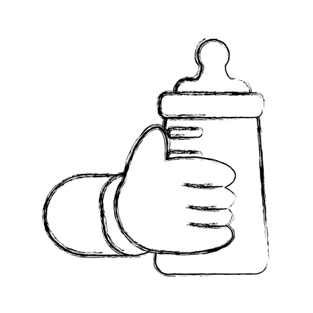 hand baby holding bottle milk vector illustration sketch Illustration