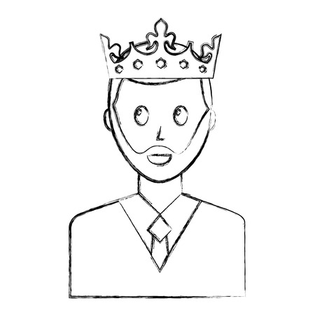 portrait man charatcer wearing crown vector illustration sketch Stock Illustratie