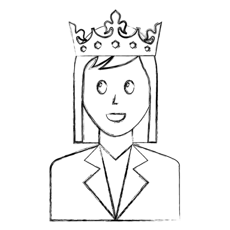 woman character portrait with crown vector illustration sketch