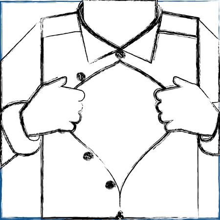 man opening his shirt superhero concept vector illustration sketch