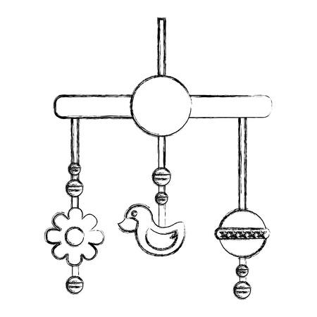 baby crib mobile toys decoration hanging vector illustration sketch  イラスト・ベクター素材
