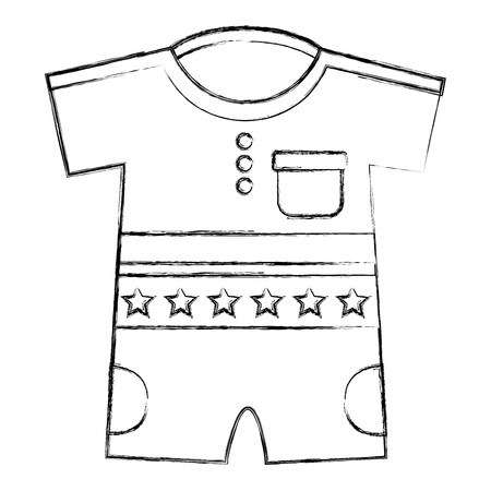 cute clothes for baby newborn boy with stars vector illustration sketch Illustration