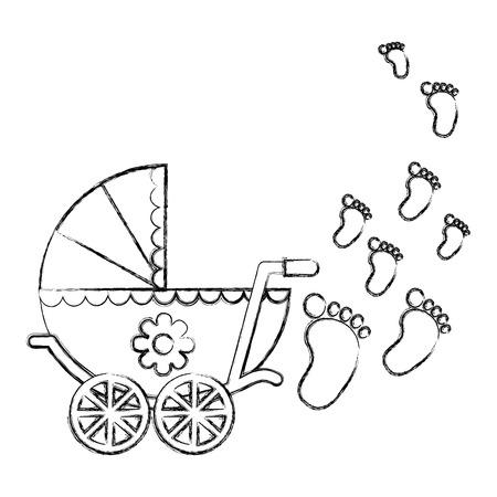 cute pram baby girl newborn footprints vector illustration sketch