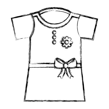 clothes baby girl fashion dress flower vector illustration sketch