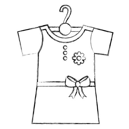clothes baby girl fashion dress flower on hangers vector illustration sketch Illustration