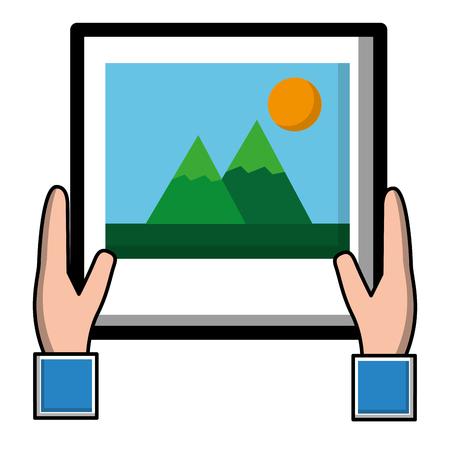 hands holding photo gallery social media vector illustration