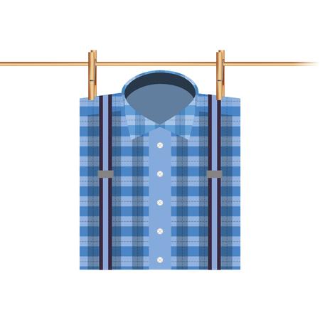 checked shirt hanging rope image vector illustration Иллюстрация