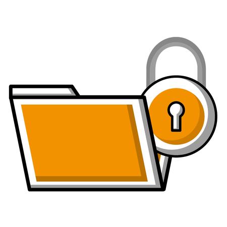 folder file data security protection vector illustration