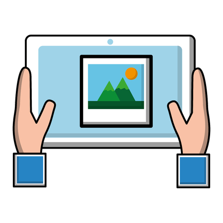 hand holding tablet with photo on screen vector illustration