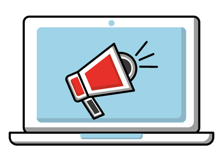 laptop marketing digital megaphone advertising vector illustration