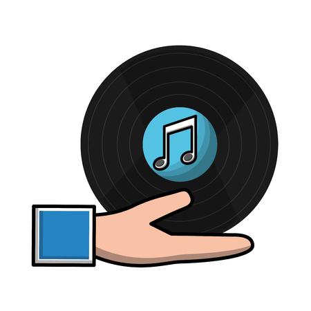 hand holding vintage vinyl music vector illustration Ilustração