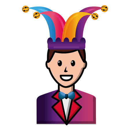 happy man elegant with suit and bowtie jester hat vector illustration