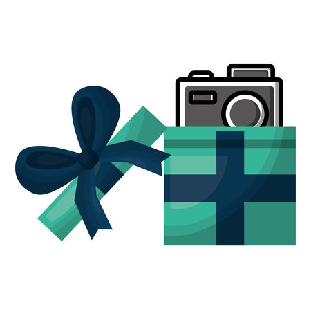 opened gift box with photo camera inside surprise vector illustration