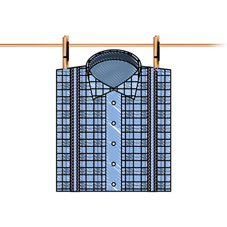checked shirt hanging rope image vector illustration drawing