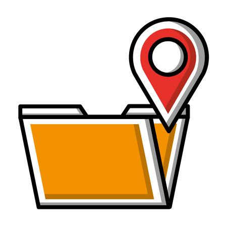 folder data digital pointer map location vector illustration