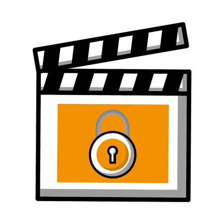 movie film clapper board protection padlock vector illustration