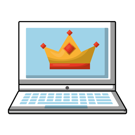 laptop with crown royalty on screen vector illustration Illustration
