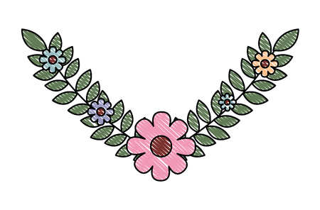 cute pink flower branch leaves nature vector illustration drawing