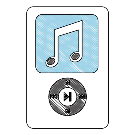 mp3 music sound device technology vector illustration drawing