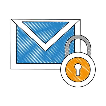 メールメッセージセキュリティデータ通知ベクトルイラスト図面
