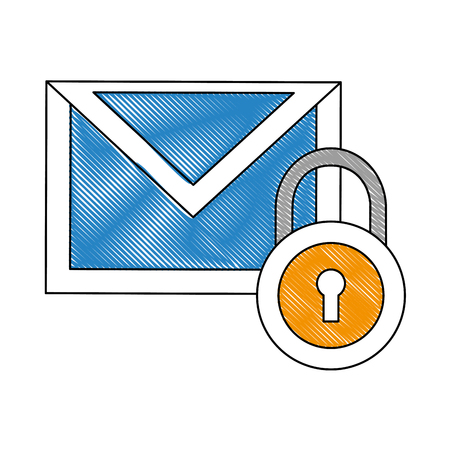 email message security data notification vector illustration drawing
