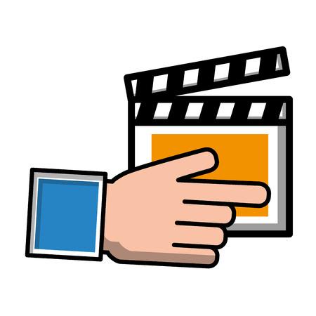 hand pointing film clapper movie vector illustration