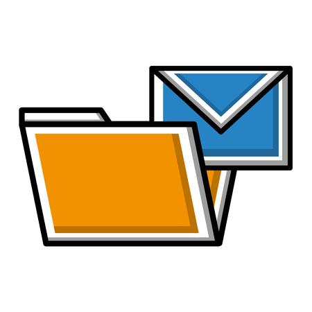 folder file with envelope email vector illustration Ilustrace