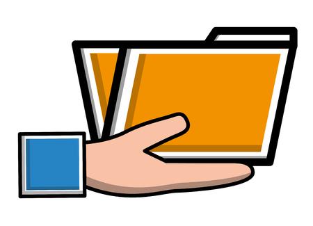 hand holding folder document archive vector illustration Ilustração