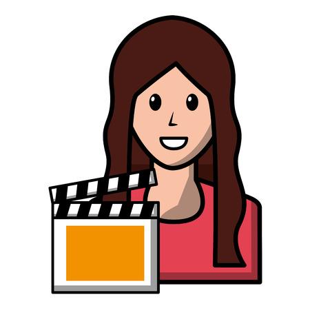 woman avatar character film clapper-board vector illustration Illustration