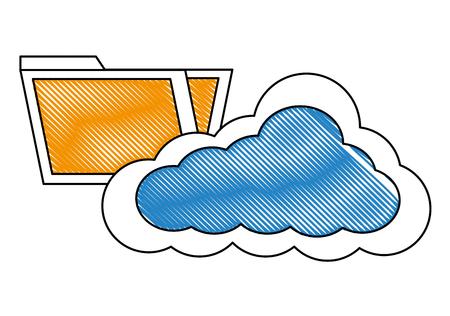 cloud storage data folder information vector illustration drawing Illustration