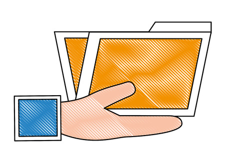 hand holding folder document archive vector illustration drawing